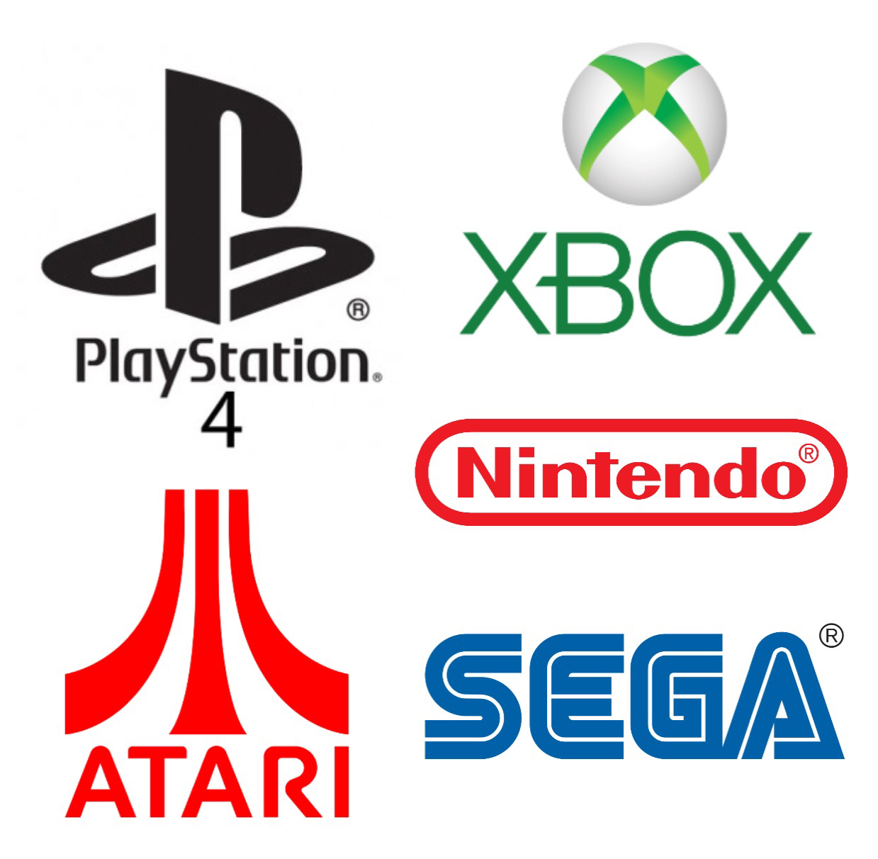 Sony PS4, Microsoft Xbox, Nintendo, Atari, and Sega!