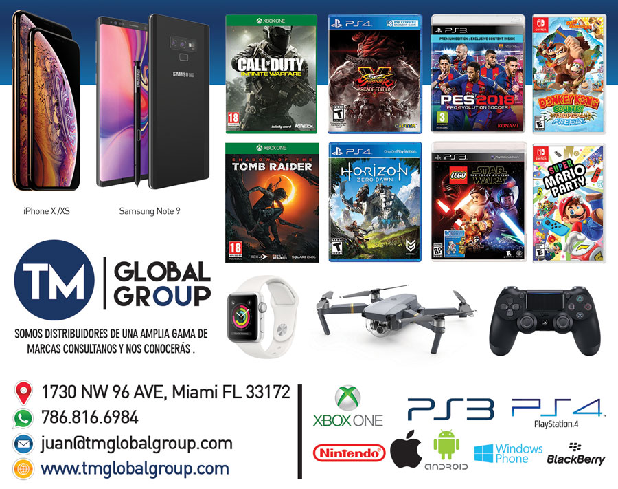 TM Global Group: Distribuidor de Una Amplia de Videojuegos, Drone, Celulares