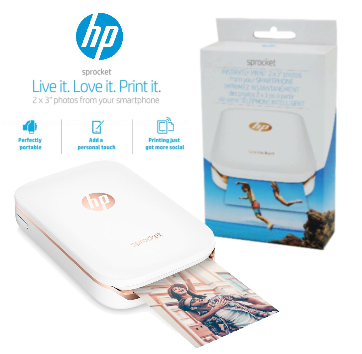 HP Sprocket 100 Portable Photo Printer - White