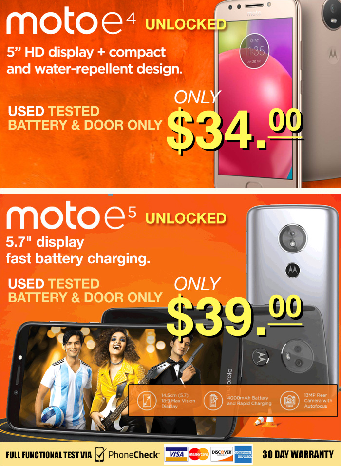 Motorola E4 and E5 available!